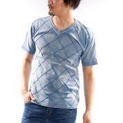 【2020春夏新作】 半袖Tシャツ Vネック 細身 ピンタック 無地 インディゴ 紺 青 VネックTシャツ