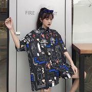 春夏新商730783  大きいサイズ 韓国 レディース ファッション ポロシャツ ワンピース  LL-4L