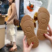 クマ 裏 スリッパ 女 夏 アウトドア 社会 サンダル 靴 新しいデザイン リボン ソフ