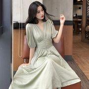 シンプル 着やせ 気質 襟 ランタンスリーブ ワンピース 女 夏 新しいデザイン ハイウ