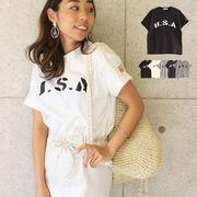 T/S USA袖ロールアップTシャツ ロゴT 半袖 トップス カジュアル USAロゴ