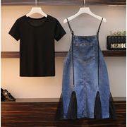 魅力100% 春夏新品 ファッション 2019 コットン  Tシャツ  キャミ・ベアワンビス ツーピースセット