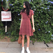 ファッション 新しいデザイン 春夏服装 気質 原宿スタイル 襟 シフォン レッド ドレス