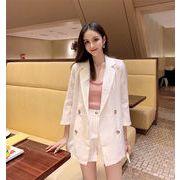 夏までOK! 韓国ファッション 夏 新作 二点セット 女性 スリムフィット コート+ショートパンツ