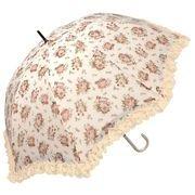 <AMANO>【晴雨兼用傘】ローズ柄ドーム傘・ピンク