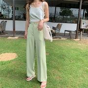 つる 柔らかい 夏 新しいデザイン 韓国風 シンプル 着やせ ドレープ カジュアルパンツ