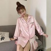 夏 新しいデザイン 韓国風 何でも似合う ナイトドレス 薄いスタイル アイスシルク セク