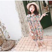 夏 ロンパース 女の子 花柄 カバーオール オールインワン