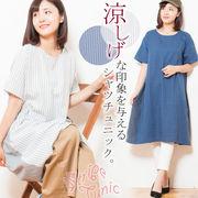 【2019春夏新作】【大きいサイズ有】サイド切替布帛素材チュニック