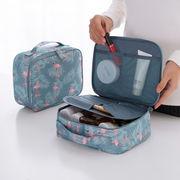 メイクボックス コスメポーチ 化粧バッグ 撥水 化粧ポーチ トラベルポーチ フラミンゴ柄 仕切り 持ち運び