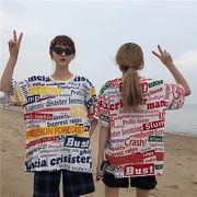韓国 スタイル ストリート スケーター ステージ衣装 ダンス衣装 ガールズ ファッション 半袖 Tシャツ