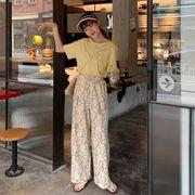 ネット 赤いズボン 女 新しいデザイン 夏 韓国風 デザイン 感 ハイウエスト ワイドパ