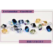 A級ガラス製 長方×貫通穴(前後はダイヤカット)×オーロラ加工 1粒約3円