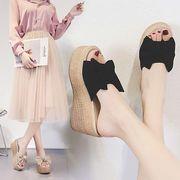 夏美脚サンダル韓国ファッション夏靴 シンプル厚底サンダル パンプス ウエッジソール
