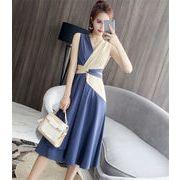 春夏新品発売 韓国ファッション 韓国 カラーマッチングノースリーブ ロング ワンピース ロングスカート