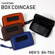 4color ラウンド式 ボックス コインケース メンズ 本革 ブランド 革 カード ファスナー 小銭入れ レザー