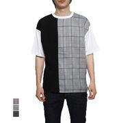 布帛チェック切替ビッグTシャツ/sb-295787