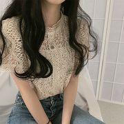 夏★最強の新作chic★韓国ファッション可愛い レディーズ 半袖 無地 レースブラウス シャツ