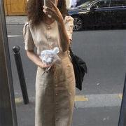 春コーデにぴったり 韓国ファッション  ロングセクション エレガント ラウンドネック 半袖 ワンビース