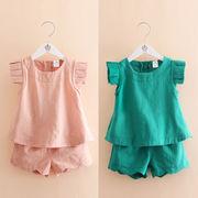 赤ちゃん 飛びます 袖 セット 夏服 ハン 新しいデザイン 女子供服 児童 ベスト ショ