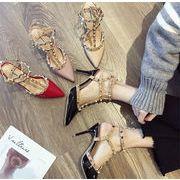 レビュー好評 韓国ファッション INSスタイル ピンヒール ポインテッドトゥ セクシー リベット サンダル
