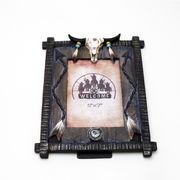 インディアンスカル レリーフ装飾 フォトフレーム ■ 写真 インテリア 雑貨 置物 オブジェ