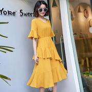 韓国ファッション新品 おしゃれ フリルVネックワンピース  レディース夏5色あり