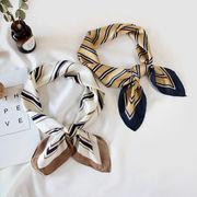 スカーフ ストライプ柄 INS ビンテージ ヘアバンド 文芸 韓国ファッション