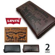 【全2色】Levis リーバイス ラベルパッチデザイン型押し エコレザー ラウンドファスナー長財布