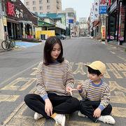 セーター  韓国子供服 親子服 ストライプ Tシャツ カジュアル 女の子 男の子 SALE キッズ