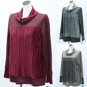 【秋物】レディース シャツ ベルベット プリーツ加工重ね風 ハイネック Tシャツ