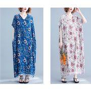 ゆったり プリント柄 バットウィング袖マキシ丈ワンピース 全2色 C050【洋服】