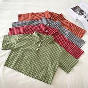 夏 新しいデザイン 韓国風 若いもの ヒットカラー グリッド 襟 シャツ 学生 ルース