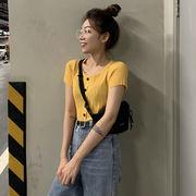 夏 韓国風 新しいデザイン 何でも似合う レジャー ファッション 半袖Tシャツ 女 着や