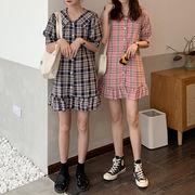 夏 新しいデザイン 韓国風 中長スタイル 半袖ワンピース 女子学生 ルース ラペル カー