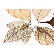 【秋冬アクセサリー】極薄銅製メタル リーフのメタル 銅99%高品質&繊細な模様