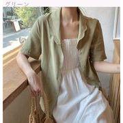 夏 韓国風 新しいデザイン 気質 単一色 半袖のワイシャツ アウターウェア ルース 学生