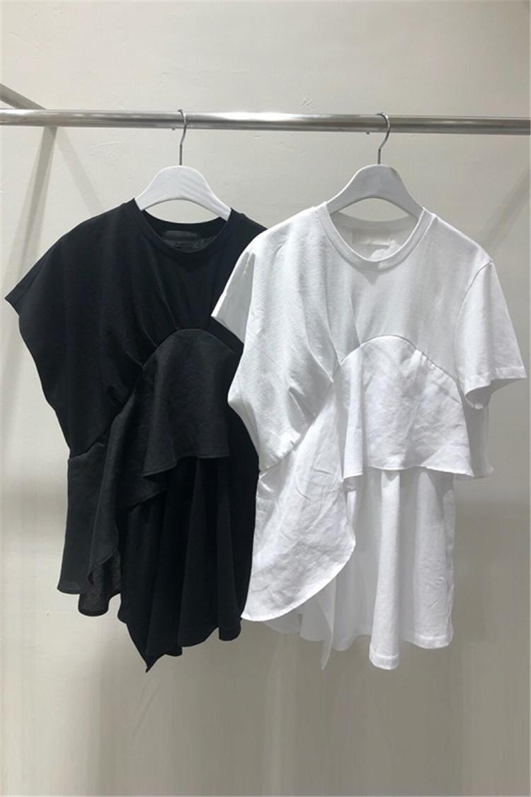 魅力100% 春夏新品 半袖Tシャツ フリル 切り替え 体型カバー 着痩せ アシンメトリー シンプル