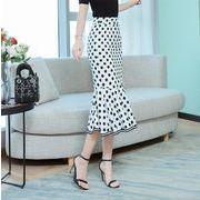 フィッシュテールスカート OL オフィス 水玉柄 通勤 ミモレ丈スカートサンドレス マーメイドスカート
