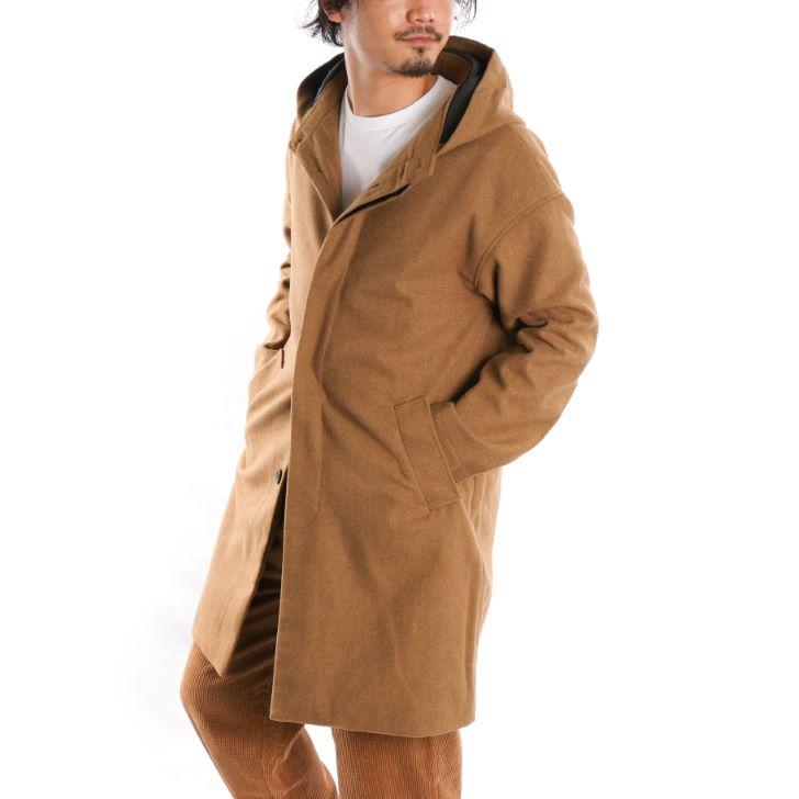 【予約販売】 【2019秋冬新作】 フーデッドコート メンズ ウール メルトン フード オーバーコート ロング