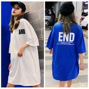 メール便730899】大きいサイズ 韓国 レディース ファッション Tシャツ ワンピースAND END プリント LL-4L