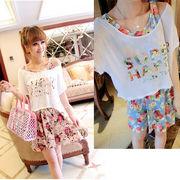 【即納】 ★ ワンピース + プリント Tシャツ ★ ドレス 8016