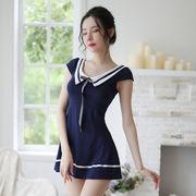 【即日出荷】紺色  セーラー服 ワンピース コスプレ衣装【6104】