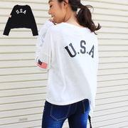 トップス USAバックプリントTシャツ 長袖Tシャツ ショート丈トップス 星条旗プリント カジュアルT