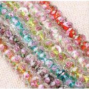 ガラス 大穴ビーズ ルースビーズ DIY 手作り アクセサリー ガラスビーズ 花柄