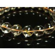 透明度抜群 お試し価格 現品一点物 ゴールドルチルブレスレット 金針水晶天然石数珠 10ミリ R24