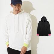 【2019秋冬新作】ネオンカラーリブ 長袖 プルオーバー フードTシャツ メンズ
