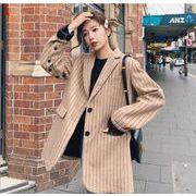 YUNOHAMIコートアウター 韓国ファッション ボーダー柄 長袖 シングル列ボタン 小さなスーツ 秋冬即納
