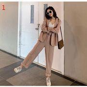 YUNOHAMI韓国風 セットアップスーツ 長袖 小さなスーツ+ ワイドパンツ スラックス リボン付き 秋冬即納