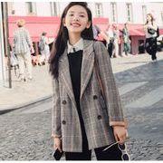 YUNOHAMIコートアウター チェック柄 長袖 ダブルボタン 小さなスーツ ゆったり 羊毛の おしゃれ 秋冬即納